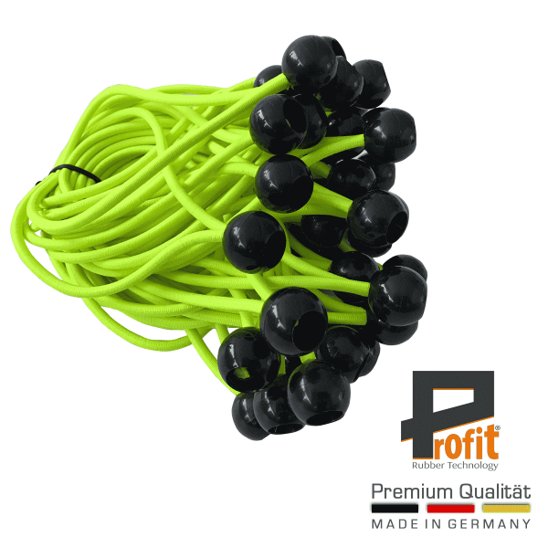 Expander rubbers met kogel in 250mm - Neon geel | Expander stroppen | Tent-spanners | Rubberspanners | Profit Rubber Technologie