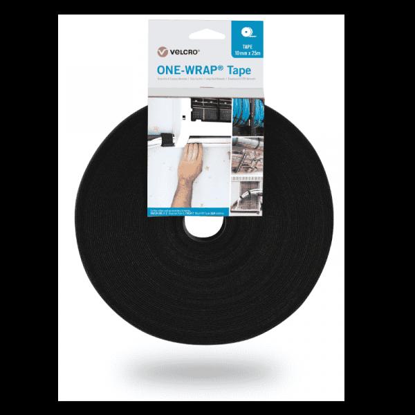 ONE-WRAP® VELCRO® merk 10mm x 25m tape op een zwarte rol