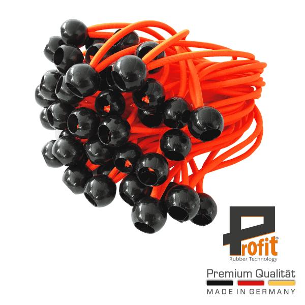 Expander lussen met bal | Neon Oranje | Tent-rubber | Tent-rubber | Tent-spanners | 25 stuks | Winstrubber Technologie