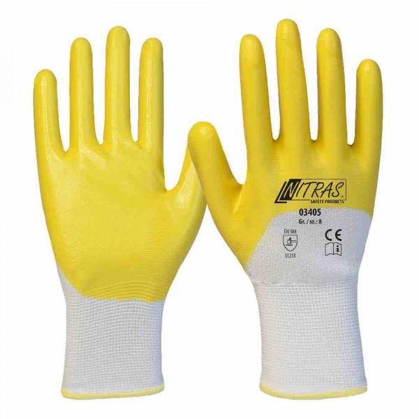 Nitril handschoenen polyester witte nitril coating geel 3/4 gecoate gebreide manchet