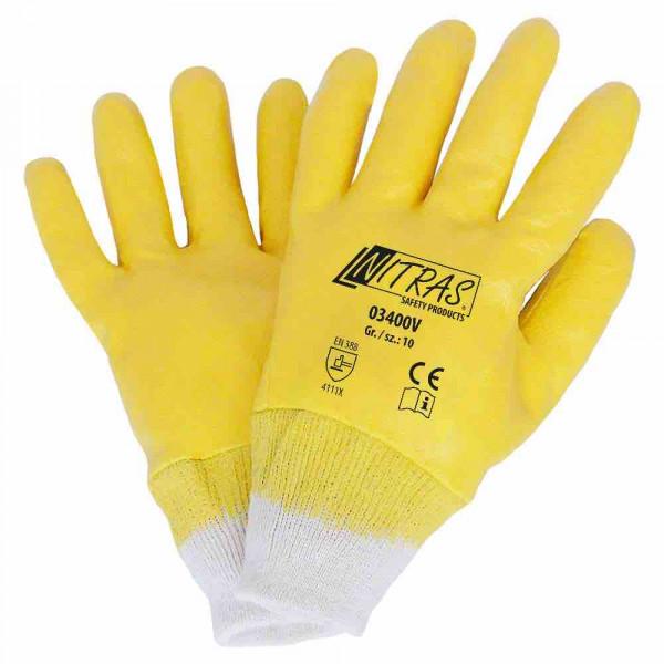 Nitril handschoenen katoenen tricot natuurlijke kleur Nitril coating, volledig geel gecoat