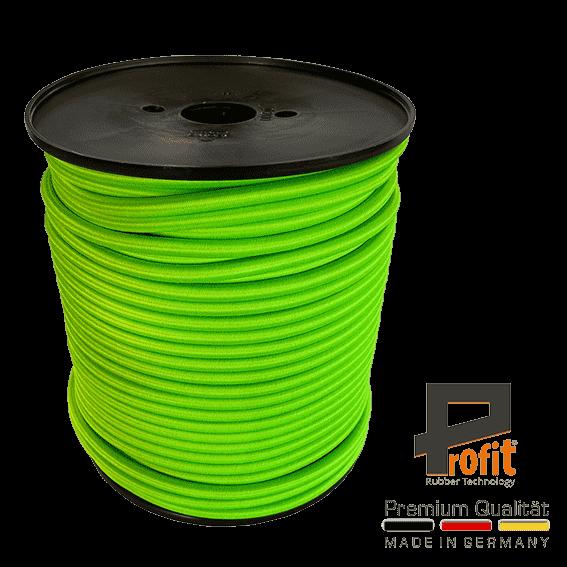 Expander touw - rubber touw neon groen 8mm op 100 meter rol
