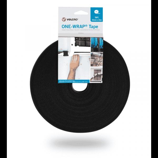ONE-WRAP® VELCRO® merk 20mm x 25m tape op zwarte rol